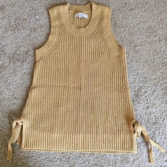 386fac3c5462b5 LOFT Sweaters - Ann Taylor LOFT gold side tie sweater tank XS